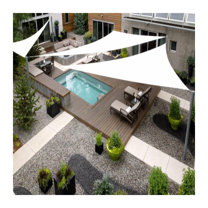 Vela de sombra triangular blanca para el jardin patio y - Velas para piscinas ...